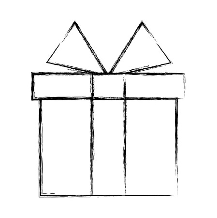 wrapped gift box ribbon decoration vector illustration hand drawing