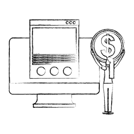 woman with coin money computer website online buy vector illustration hand drawing