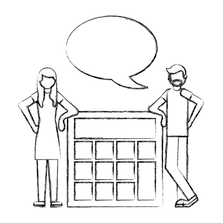 man and woman talking with big calculator vector illustration hand drawing