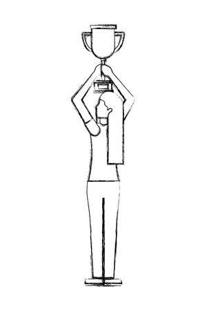 woman back view holding trophy award vector illustration hand drawing