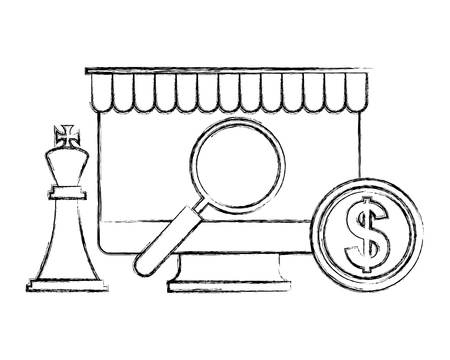 computer magnifying glass chess king and coin vector illustration hand drawing Illusztráció