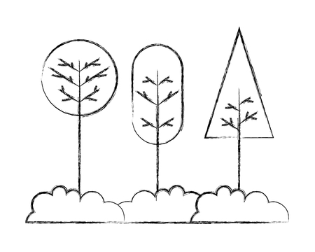 nature forest tree bushes cartoon vector illustration hand drawing