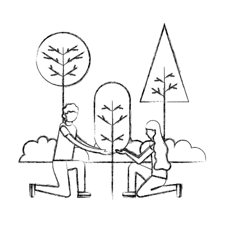 man and woman planting tree gardening vector illustration hand drawing