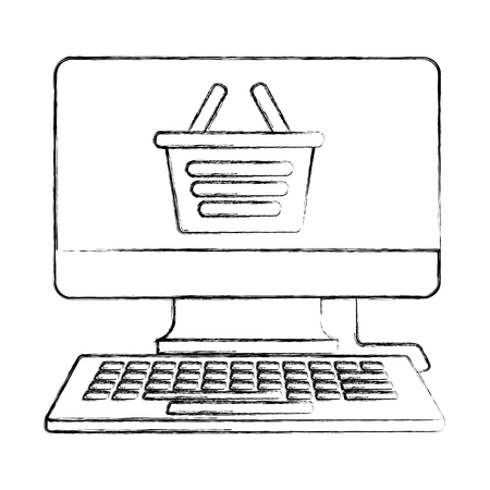 computer shopping basket buy online business vector illustration hand drawing Archivio Fotografico - 112066980