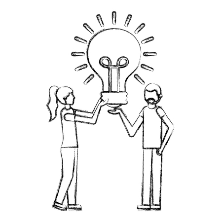 beard man and woman holding light bulb creativity vector illustration hand drawing