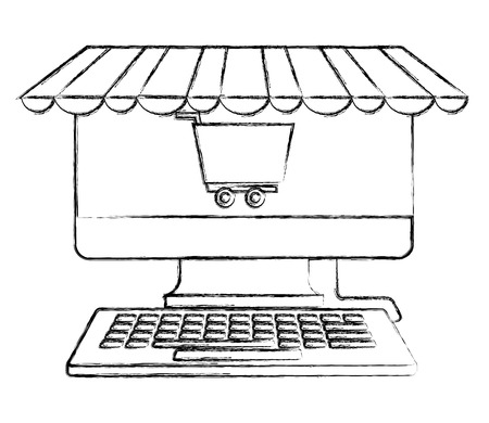 computer keyboard shopping cart business buy online vector illustration hand drawing