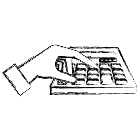 hand with calculator math isolated icon vector illustration design