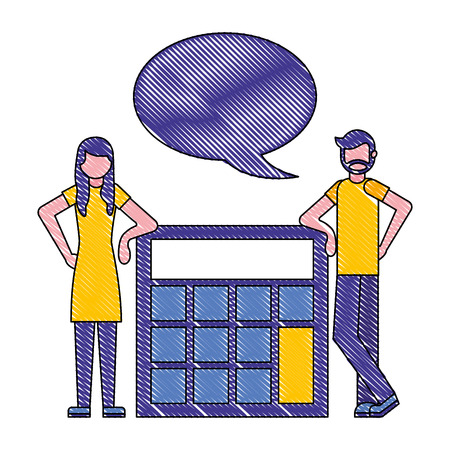 man and woman talking with big calculator vector illustration