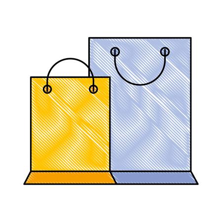 paper shopping bags ecommerce online vector illustration