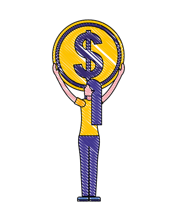 woman back view holding coin money dollar vector illustration