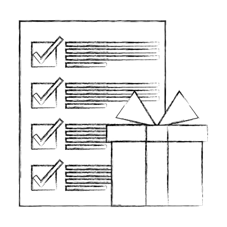 gift box and check mark document logistic business vector illustration hand drawing