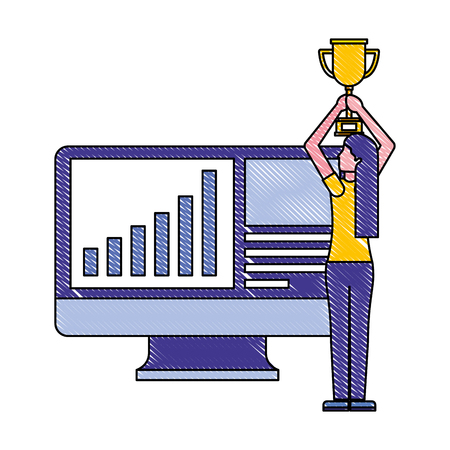woman holding trophy computer business financial vector illustration