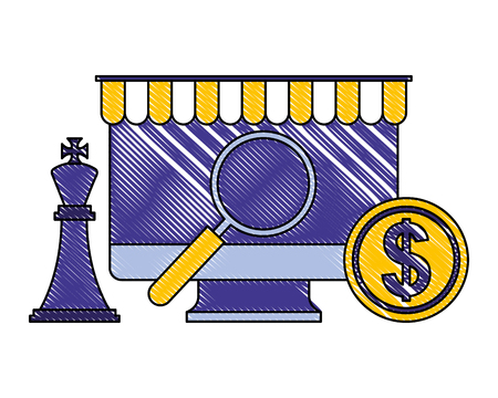 computer magnifying glass chess king and coin vector illustration
