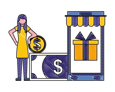 woman holding coin smartphone banknote buy online vector illustration Foto de archivo - 112067043