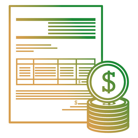 financial documents with coins vector illustration design