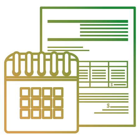 calendar reminder with financial document vector illustration design