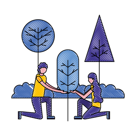 man and woman planting tree gardening vector illustration