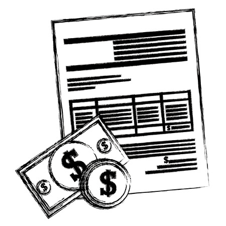 bills and coins dollars with document vector illustration design Ilustrace