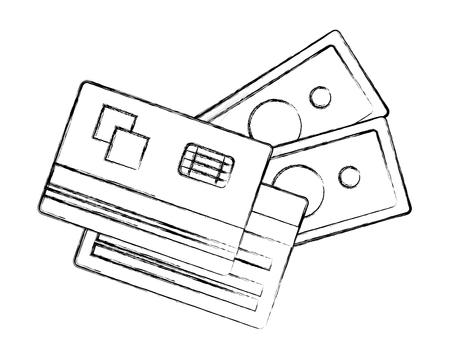 bank cards credit debit banknote money cash vector illustration hand drawing 일러스트