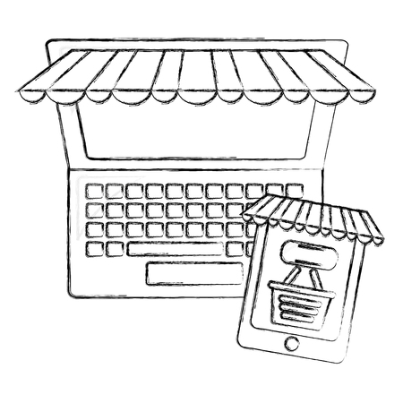 computer and cellphone shopping basket click buy online vector illustration hand drawing