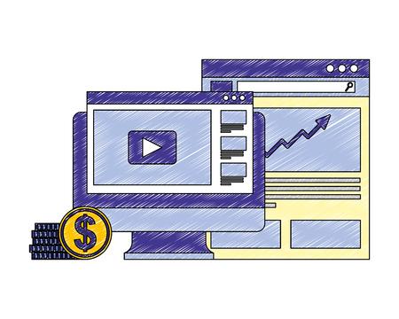 computer business money con website finance vector illustration Foto de archivo - 106210709