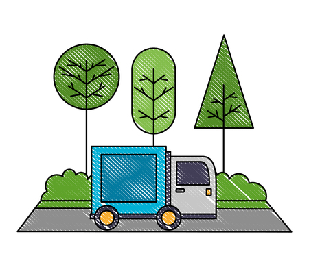delivery truck in the road landscape vector illustration