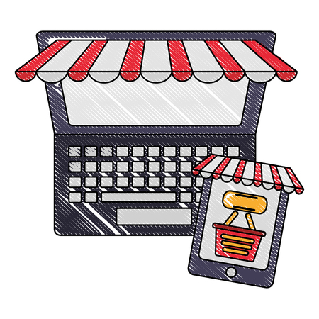computer and cellphone shopping basket click buy online vector illustration