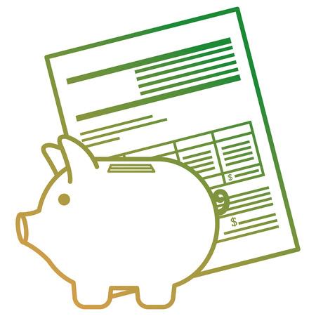 documenti finanziari con disegno di illustrazione vettoriale di risparmio piggy