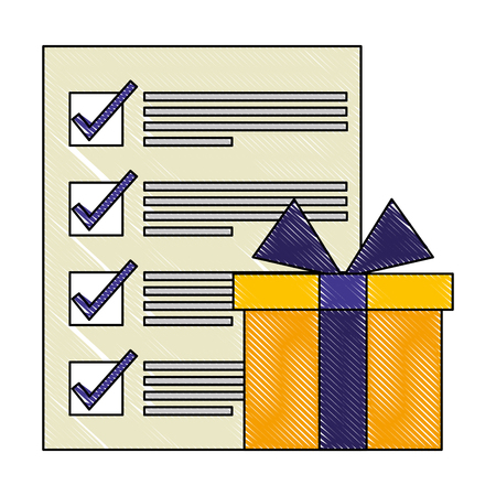 gift box and check mark document logistic business vector illustration