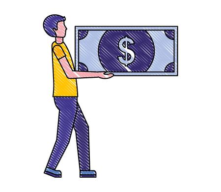 man holding banknote money dollar vector illustration
