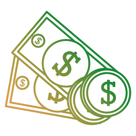 bills and coins dollars money vector illustration design