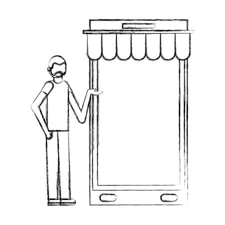 beard man with big smartphone buy online vector illustration hand drawing