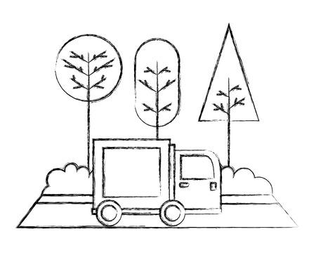 Camión de reparto en la carretera paisaje ilustración vectorial dibujo a mano