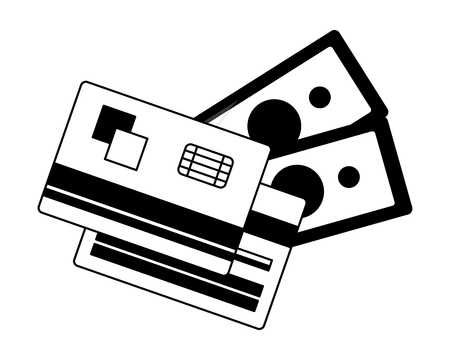 credit card plastic with bill dollar isolated icon vector illustration design