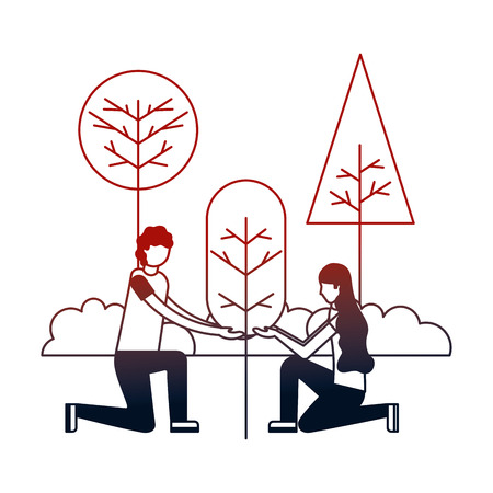 couple with landscape and tree plant isolated vector illustration design Stock Illustratie