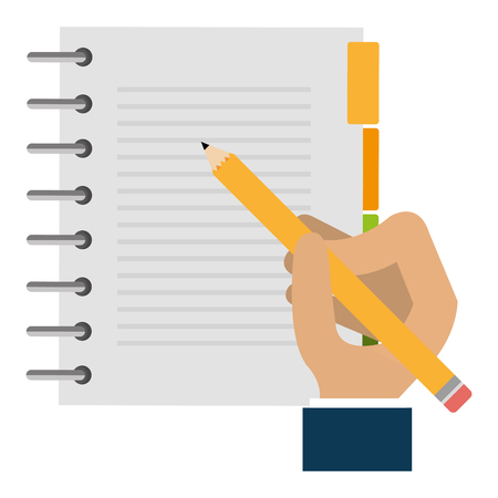 hand writing in notebook vector illustration design
