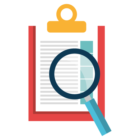 checklist clipboard with magnifying glass vector illustration design Banque d'images - 112067185