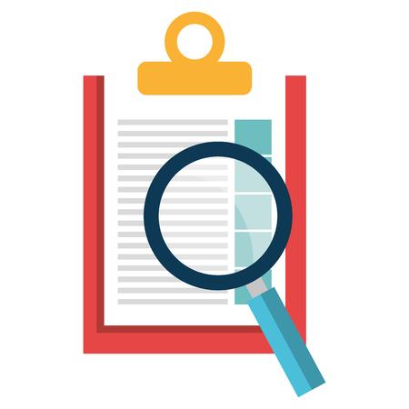 Presse-papiers de liste de contrôle avec conception d'illustration vectorielle loupe