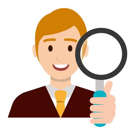businessman with magnifying glass vector illustration design Banque d'images - 106211082