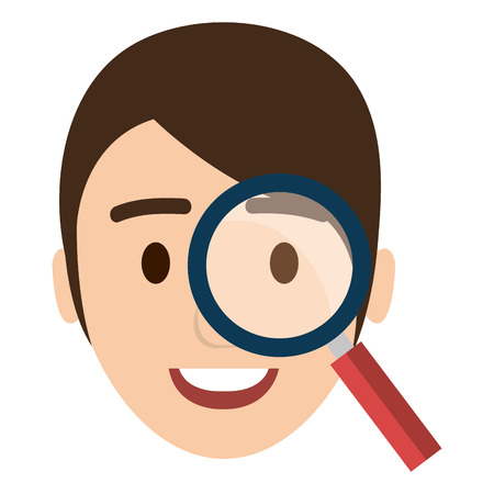 businessman head with magnifying glass vector illustration design Banque d'images - 112067192