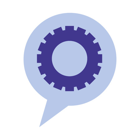 speech bubble with gear isolated icon vector illustration design Illustration