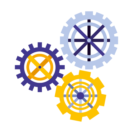 set gears machine isolated icon vector illustration design Illustration