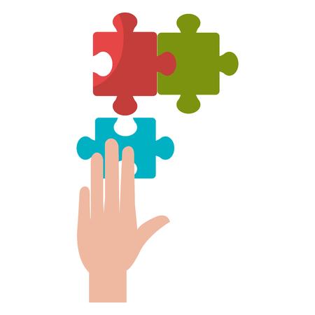 hand with puzzle game piece vector illustration design Standard-Bild - 112067209
