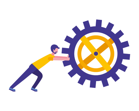 young man pushing gear machine isolated icon vector illustration design