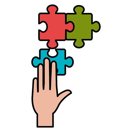 hand with puzzle game piece vector illustration design Standard-Bild - 112067254