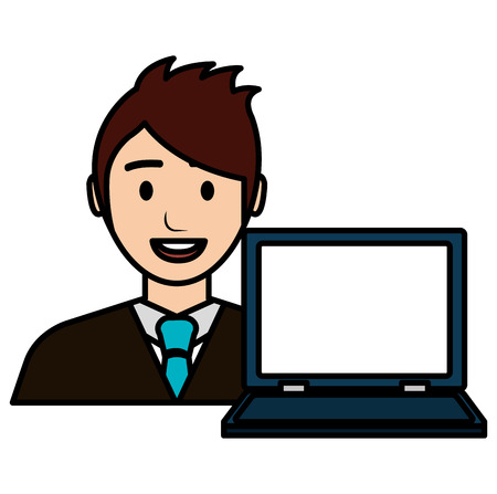 businessman with laptop avatar character vector illustration Banque d'images - 112067255