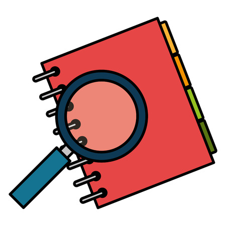 notebook agend with magnifying glass vector illustration design  イラスト・ベクター素材