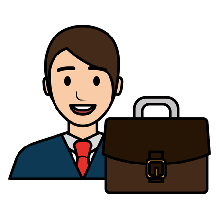 businessman with portfolio avatar character vector illustration Banque d'images - 112067262
