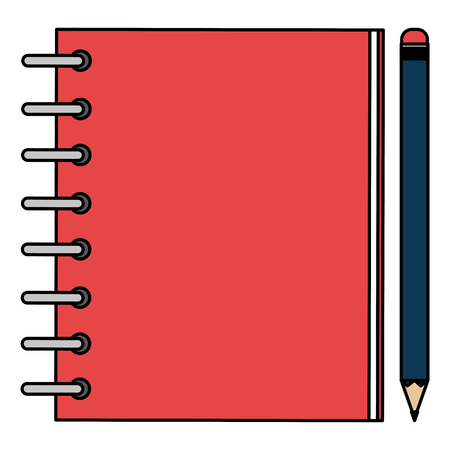 notebook agend with pencil vector illustration design