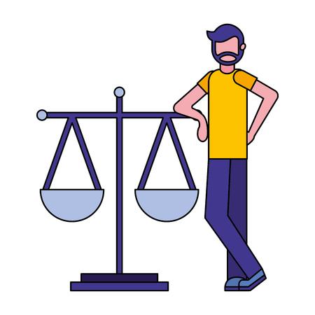 Jeune homme à l'échelle d'équilibre conception d'illustration vectorielle icône isolé